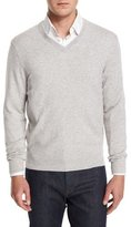 Neiman Marcus Cashmere V-Neck Sweater, Gray