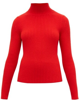 Balenciaga High-neck Ribbed-knit Sweater - Womens - Red
