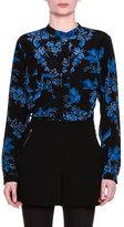 Stella McCartney Long-Sleeve Floral-Silk Blouse, Black/Blue