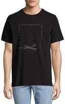 Rag & Bone Scissors Football-Fit T-Shirt, Black