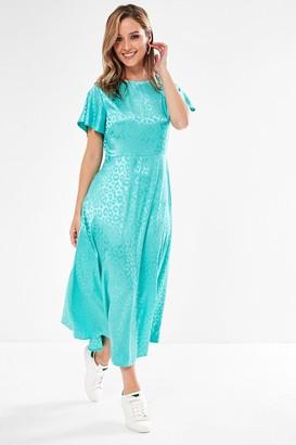 Iclothing Blake Animal Print Midi Dress in Mint