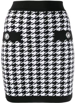 Balmain houndstooth knitted mini skirt