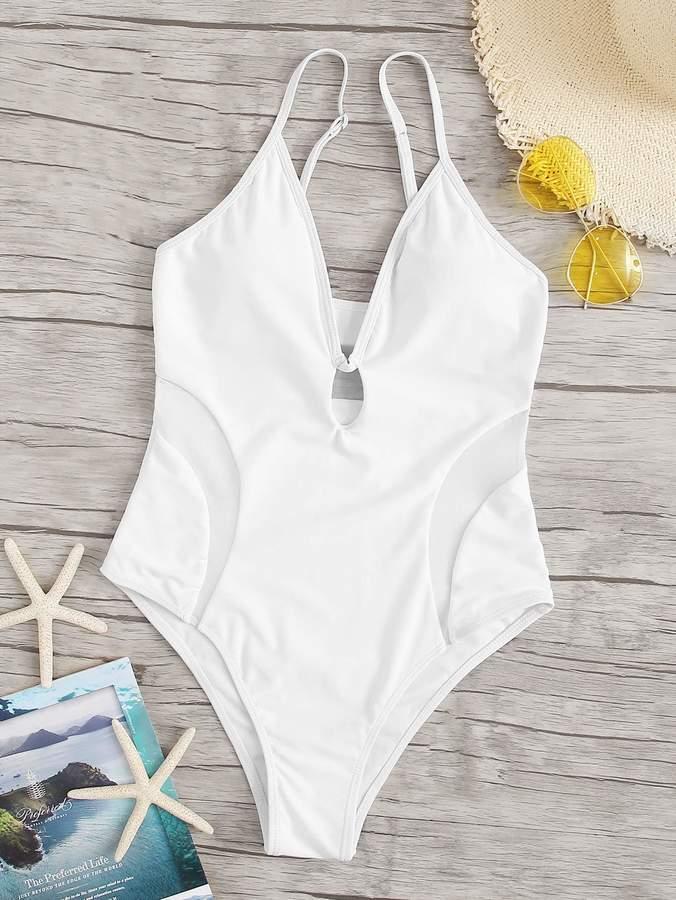 7db56abdad Mesh Panel Swimsuit - ShopStyle