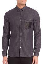 The Kooples Leather-Trim Denim Shirt