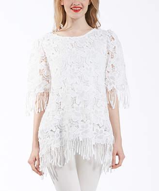 Couture Simply Women's Tunics - White Crochet Lace Fringe-Trim Tunic - Women