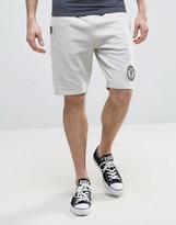 Tokyo Laundry Sweat Shorts in Gray Marl with Badge and Tipping