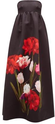 Borgo de Nor Anastasia Floral-print Satin-twill Dress - Black Multi