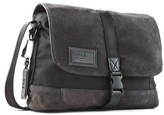 John Varvatos Men's Suede & Ballistic Nylon Messenger Bag - Grey