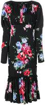 Dolce & Gabbana rose print puffy sleeve dress