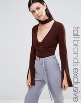 Lavish Alice Tall High Neck Long Sleeve Body With Plunge Cutout Detail