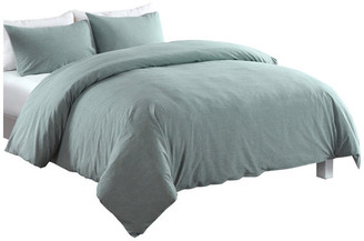 Epoch Hometex, Inc. Messy Bed Washed Cotton Duvet Cover and Sham Set, Green, Full/Queen