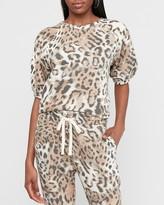 Express Leopard Print Puff Sleeve Fleece Sweatshirt
