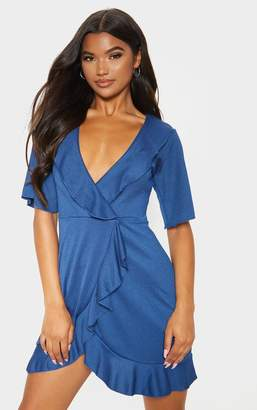 PrettyLittleThing Midnight Blue Frill Detail Wrap Dress