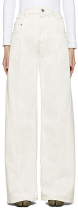 Maison Margiela Off-White Wide-Leg Decortique Asymmetric Jeans