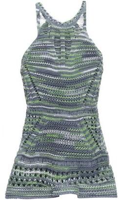 M Missoni Crocheted Cotton And Linen-blend Peplum Top