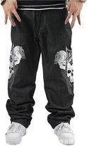 JIAX Men Jeans Hip Hop Skull Embroidery Straight Baggy Casual Skateboard Pants