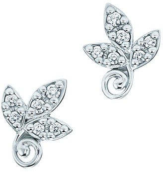 Tiffany & Co. Paloma Picasso Olive Leaf earrings in 18k white gold with diamonds