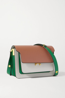 Marni Trunk Medium Color-block Textured-leather Shoulder Bag - Off-white