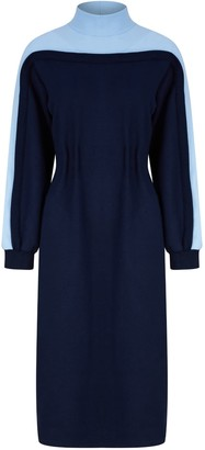 Talented Two Colored Jersey Dress - Blue