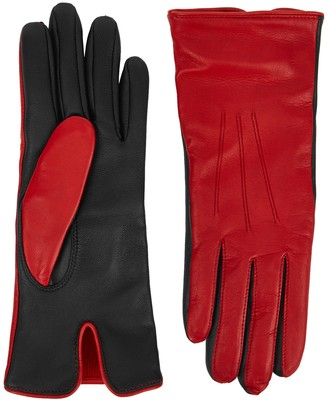 Dents Black And Red Touchscreen Leather Gloves