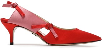 Paul Andrew Knotted Cutout Two-tone Satin Slingback Pumps