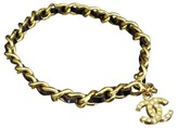 Chanel Gold-Tone and Leather Coco Mark CC Logo Chain Bracelet