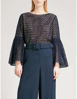 Prabal Gurung Eyelet-embroidered flared-sleeve cotton top
