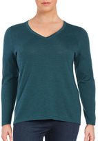 Lord & Taylor Plus Solid V-Neck Tee