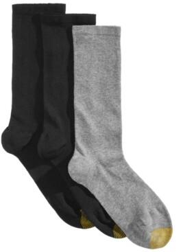 Gold Toe 3 Pack Women's Non-Binding Flat-Knit Crew Socks