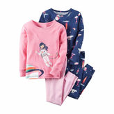 Carter's 4-pc. Pink Navy Space Pajama Set - Girls 4-8