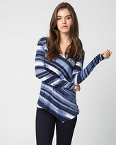 Le Château Stripe Cotton Blend V-Neck Sweater