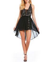 Sequin Hearts Plunging-Neck Lace Walk Thru Romper