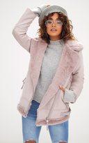 PrettyLittleThing Pink Faux Fur Trim Suede Aviator