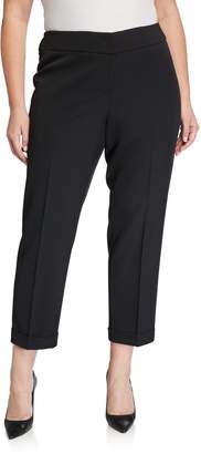 Kasper Plus Plus Size Cuffed Stretch Crepe Slim Pants