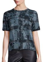 M Missoni Striped Printed Openwork Top