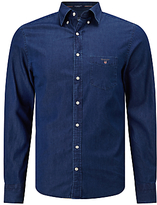 Gant Indigo Chambray Button Down Shirt, Dark Indigo