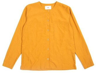 Folk Collarless Shirt Yellow - 1