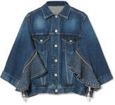 Sacai Zip-embellished Denim Jacket - Dark denim