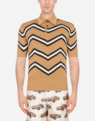 Dolce & Gabbana Polo Sweater In Inlaid Silk