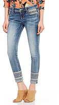 Miss Me Destructed Cuffed Embellished Skinny Ankle Jeans
