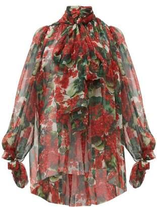 Dolce & Gabbana Geranium-print Silk Chiffon Pussy-bow Blouse - Womens - Red Multi
