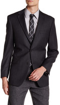 Ike Behar Charcoal Double Button Notched Lapel Wool Jacket