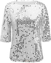 Kuji Women Sequin Sparkle Glitter Tank Cocktail Party Tops Shining T-Shirt Blouses (M, )