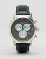 Simon Carter Leather Chronograph Watch With Grey Dial