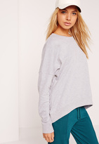 Missguided Curve Hem Sweatshirt Top Grey