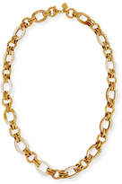 Ashley Pittman Ikulu Light Horn & Bronze Link Necklace, 36""