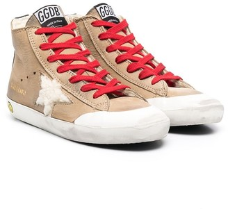 Golden Goose Kids Shearling Logo Patch Lace-Up Sneakers