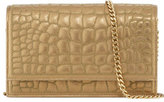 Ralph Lauren Quilted Croc-Embossed Leather Chain Shoulder Bag