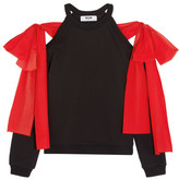 MSGM Poplin-trimmed Cutout Cotton-jersey Top - Black
