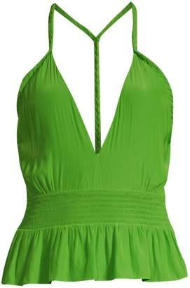 Ramy Brook Jojo Deep-V Peplum Top